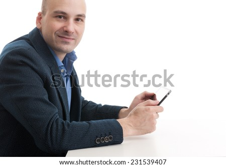 bald business man with digital tablet computer. Isolated - stock photo