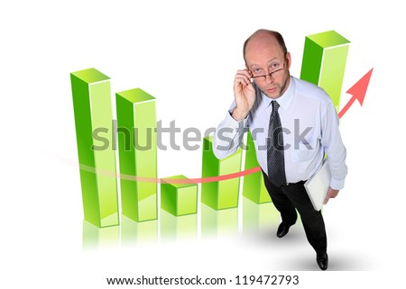 Bald businessman stood in front of chart - stock photo