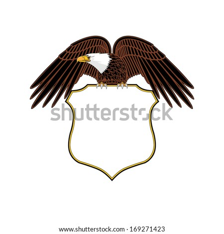 Bald Eagle with blank shield - stock photo