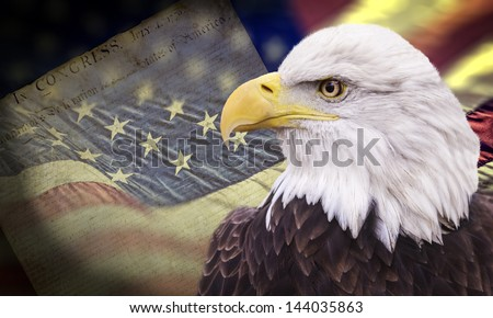 Bald eagle with grungy looking american flag out of focus and declaration of independence. - stock photo