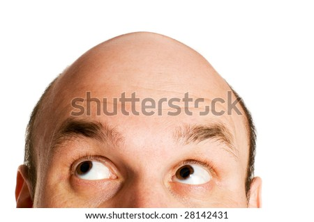 bald head looking up isolated - stock photo