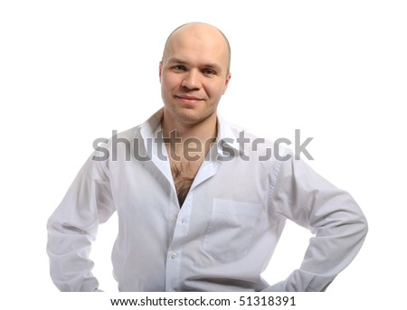 Bald-headed smiling young man in a white shirt. Isolated on white background - stock photo