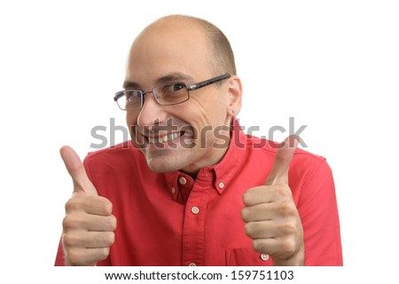 bald man holds his thumbs up. Isolated on white background - stock photo