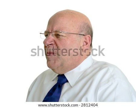 Bald man wrinkling his nose. - stock photo