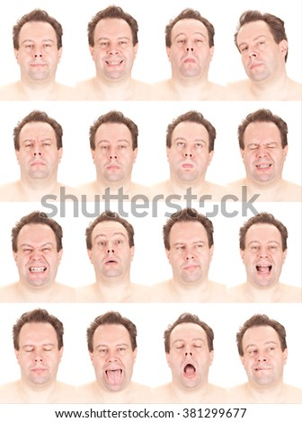 bald red head adult caucasian man collection set of face expression like happy, sad, angry, surprise, yawn isolated on white - stock photo