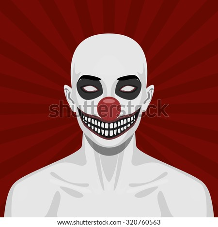Bald scary Clown with smiling Face. Halloween Illustration - stock photo