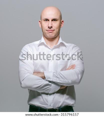 bald young man portrait  - stock photo