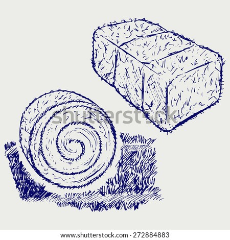 Bale of hay. Doodle style. Raster version - stock photo