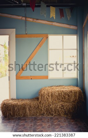 Bale of hay setting Interiors,straw - stock photo