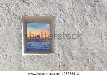 Balearic islands Es Vedra sunset view through whitewashed window [ photo-illustration] - stock photo