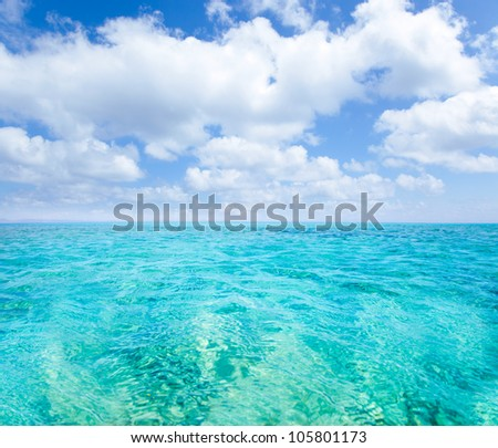 Balearic islands turquoise sea under summer blue sky in tropical beach - stock photo