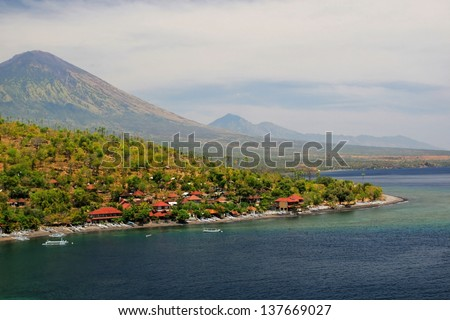 Bali. Beach. View from the mountain - stock photo