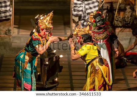 BALI, INDONESIA - JUNE 1 2014: Traditional Balinese Kecak dance  on June 1, 2014, Bali, Indonesia - stock photo