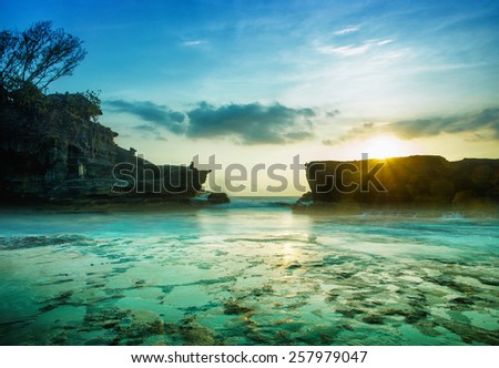 BALI Landmark Tanah Lot temple in sunset. Bali island, indonesia - stock photo