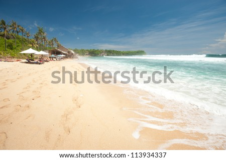 BALI- MAY 8:  Balangan Beach is one of the surfing beaches on the western side of the Bukit peninsula located just north of Dreamland. May 8, 2011 in Bali, Indonesia - stock photo