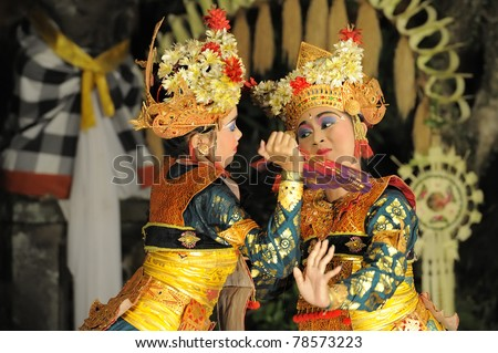 BALI - MAY 4: Legong and barong dance is performed by sekehe Gong Panca Artha at Ubud Place in Ubud, Bali. May 4, 2011 in Bali, Indonesia. - stock photo