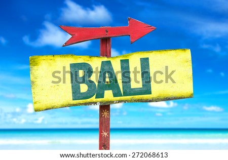 Bali sign with beach background - stock photo