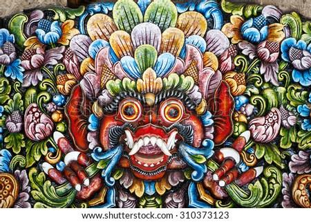 Bali wood sculpture. - stock photo