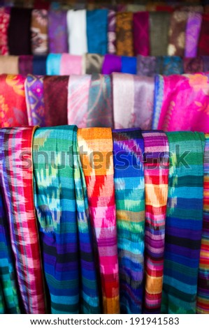 Balinese sarong for sale at market, Bali, Indonesia, Asia - stock photo