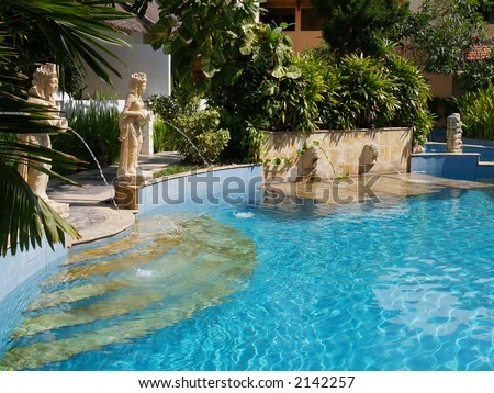 Balinese themed pool - stock photo