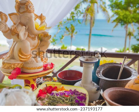 balinese wedding ceremony, indonesian culture - stock photo