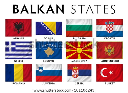 Balkans - Southeast Europe countries flags. - stock photo