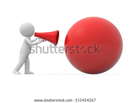 Ball\A 3d people talking with a speaker to a ball - stock photo
