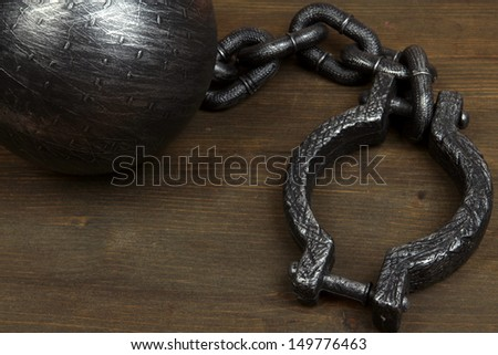 Ball and chain on wooden background - stock photo