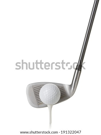 ball and golf club isolated on white  - stock photo