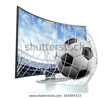 Ball and net going out of 3D curved TV with OLED screen. - stock photo