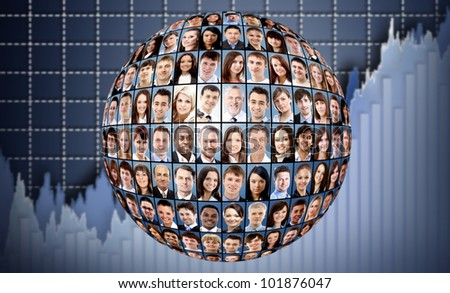 ball and people isolated over business background - stock photo