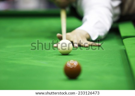 Ball and Snooker Player - stock photo