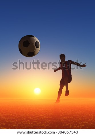 Ball and soccer player at sunset. - stock photo