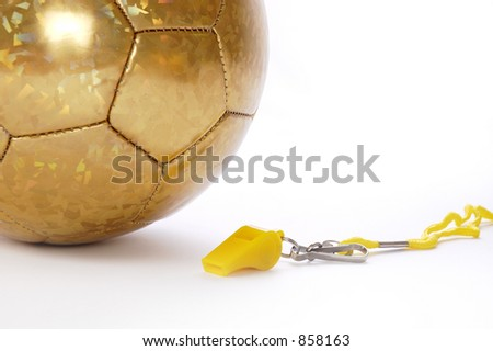 Ball and whistle on a white background 4 - stock photo