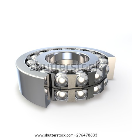Ball bearing in the cut form. Isolated background. 3D render - stock photo