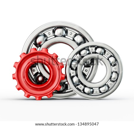 Ball bearings  isolated on a white background - stock photo