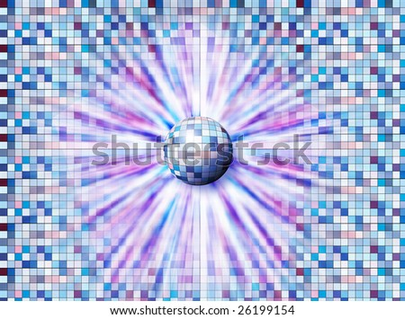 Ball breaking forth from by the covered tile of wall or embedding in it - stock photo