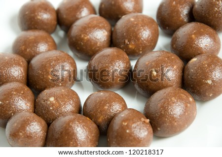 ball chocolate candies over white - stock photo