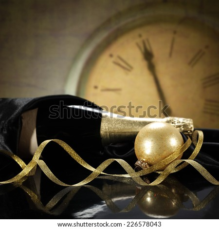 ball clock and champagne  - stock photo