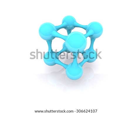 Ball connection concept, abstract 3d - stock photo