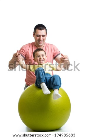 ball, fit, fitness, kid, parent - stock photo