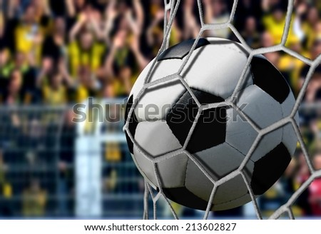 Ball in Goal Net with Cheering Spectators - stock photo