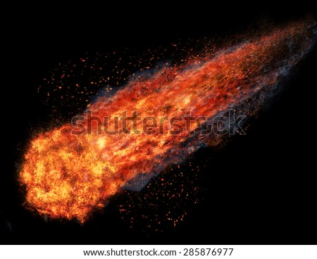 ball of fire isolated on black background - stock photo