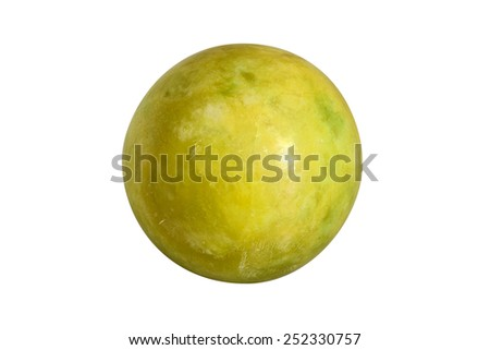 Ball of green jade stone, isolated on white - stock photo