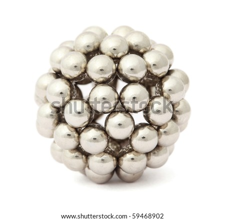 ball of metal segment assembled from neocube isolated on white - stock photo