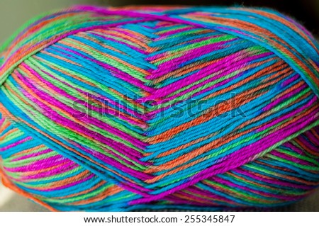ball of multicolor yarn - stock photo