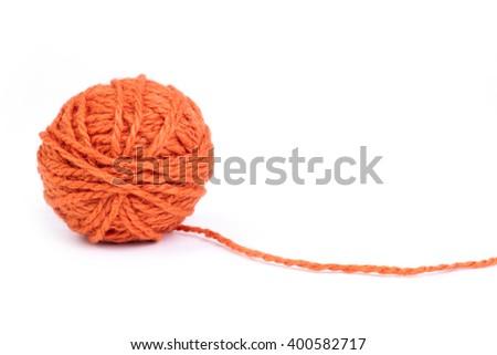 ball of orange wool yarn - isolated - stock photo