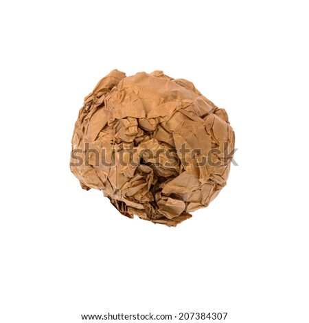 ball of paper isolated on white background with lighting studio. - stock photo