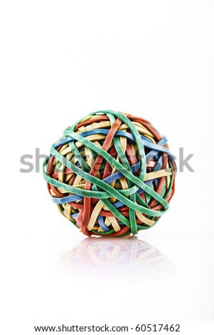 ball of rubber bands - stock photo