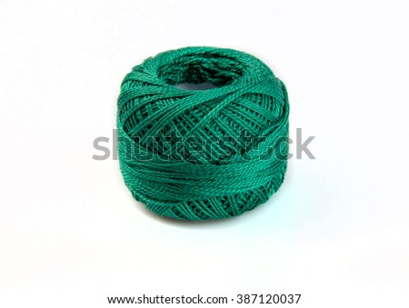Ball of sea  green yarn, ball of wool isolated on white background - stock photo